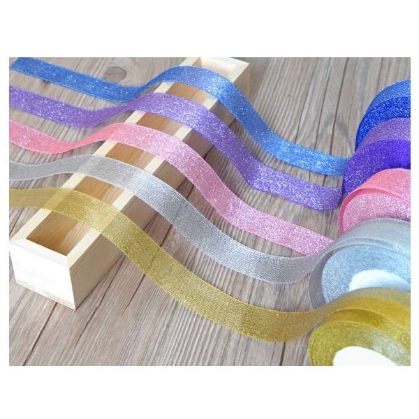 22 Metres 25mm Double Sided Satin Glitter Ribbons Bling Bows Reels Wedding J1T3