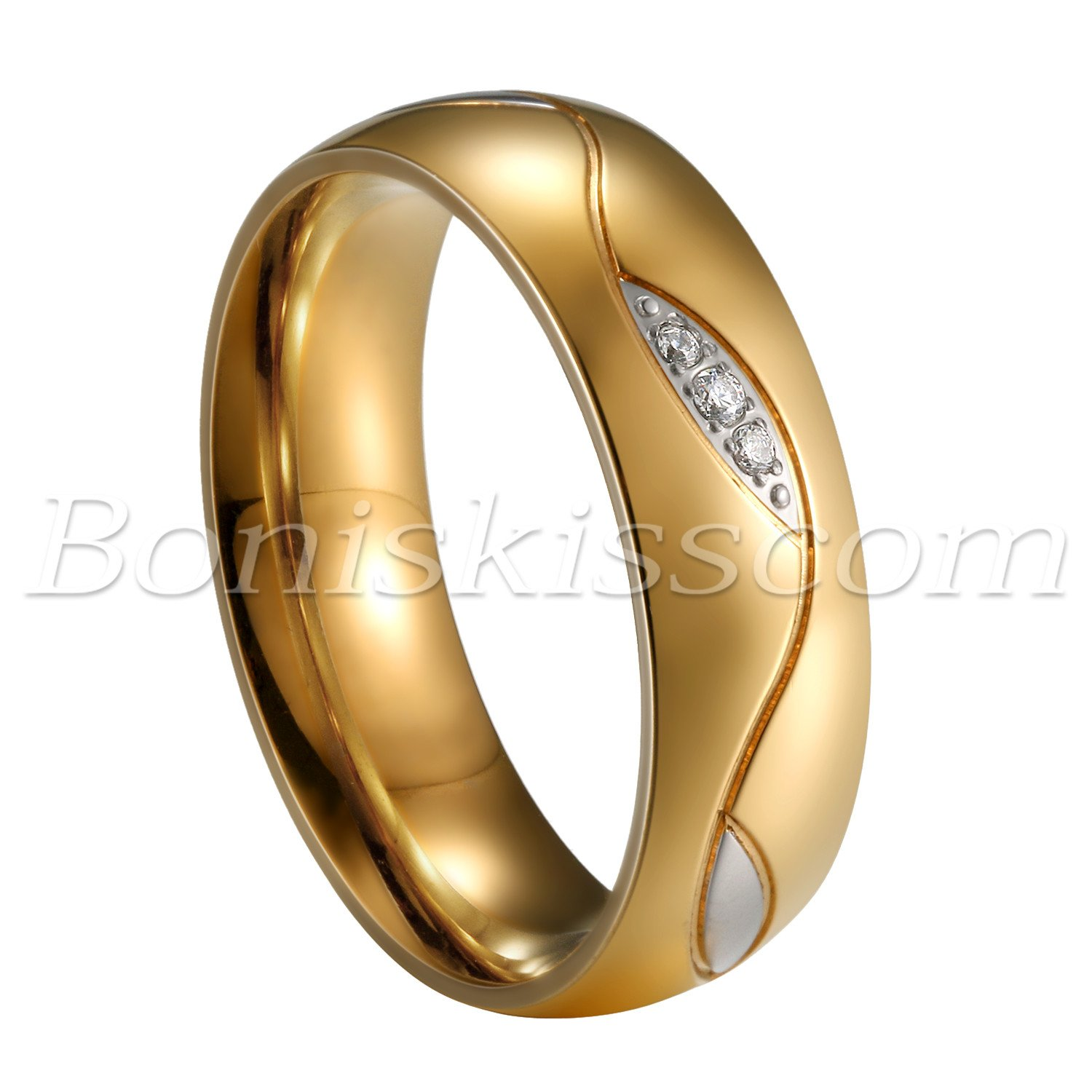 Couples-Men-039-s-Women-039-s-Classic-Gold-Stainless-Steel-Ring-Comfort-Fit-Wedding-Band thumbnail 13