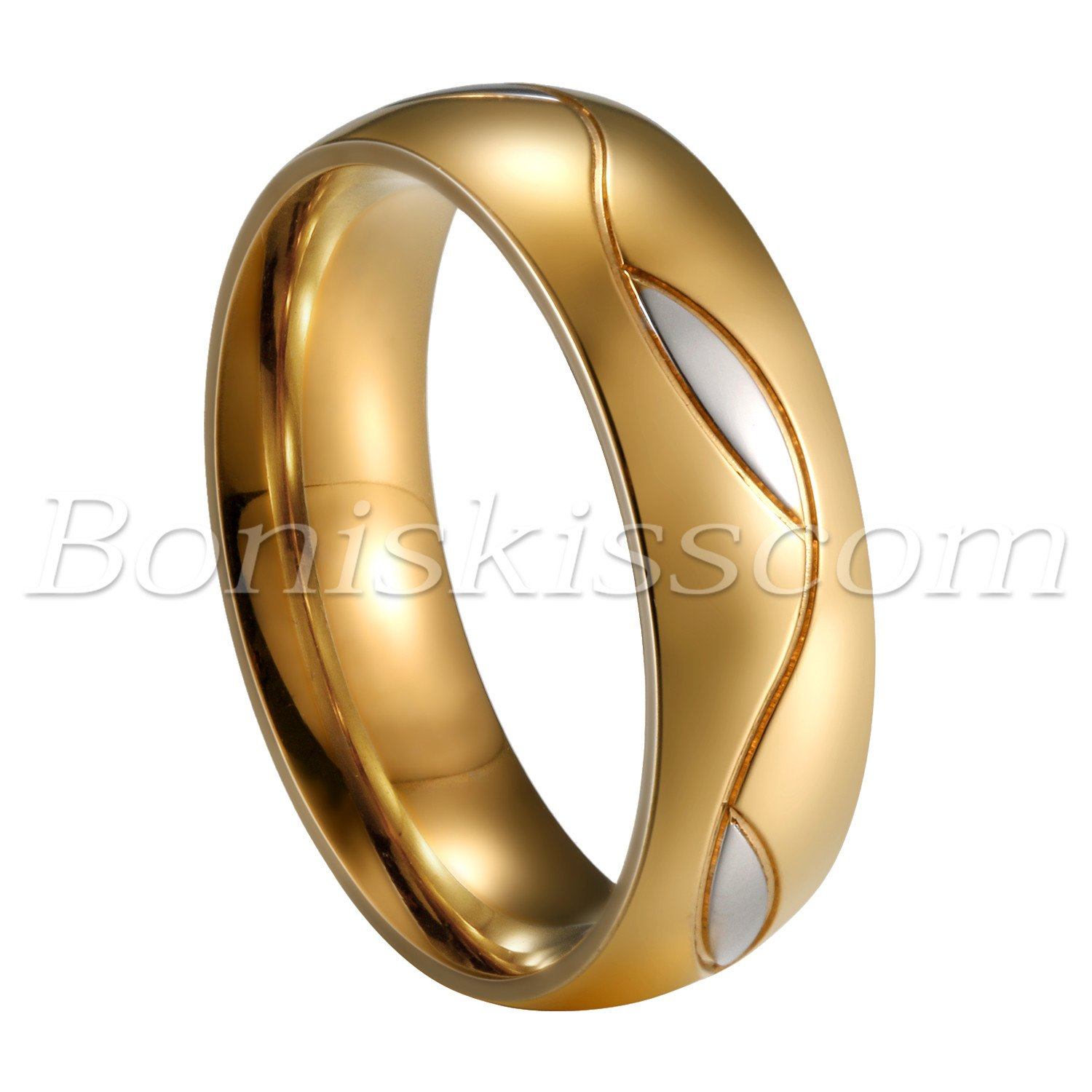 Couples-Men-039-s-Women-039-s-Classic-Gold-Stainless-Steel-Ring-Comfort-Fit-Wedding-Band thumbnail 21