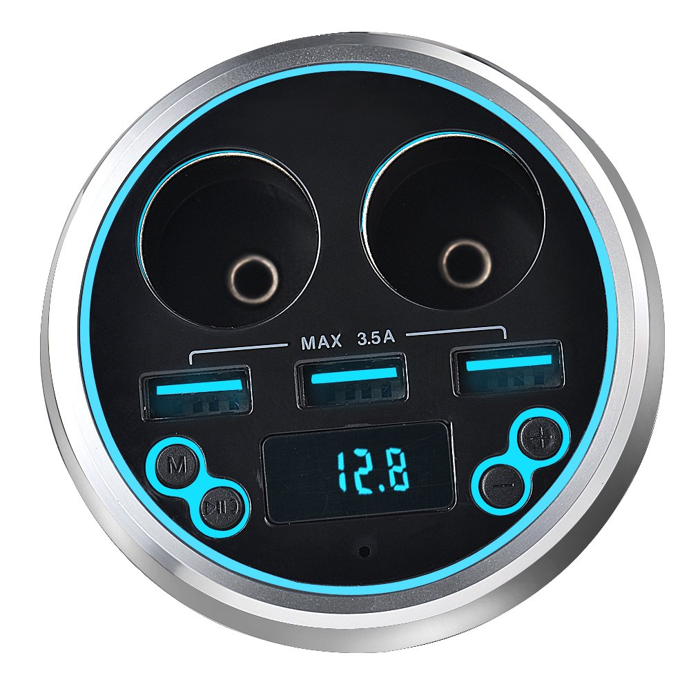 Bluetooth Car Kit Handsfree FM Transmitter Radio MP3 Player 3 Ports USB Charger 15