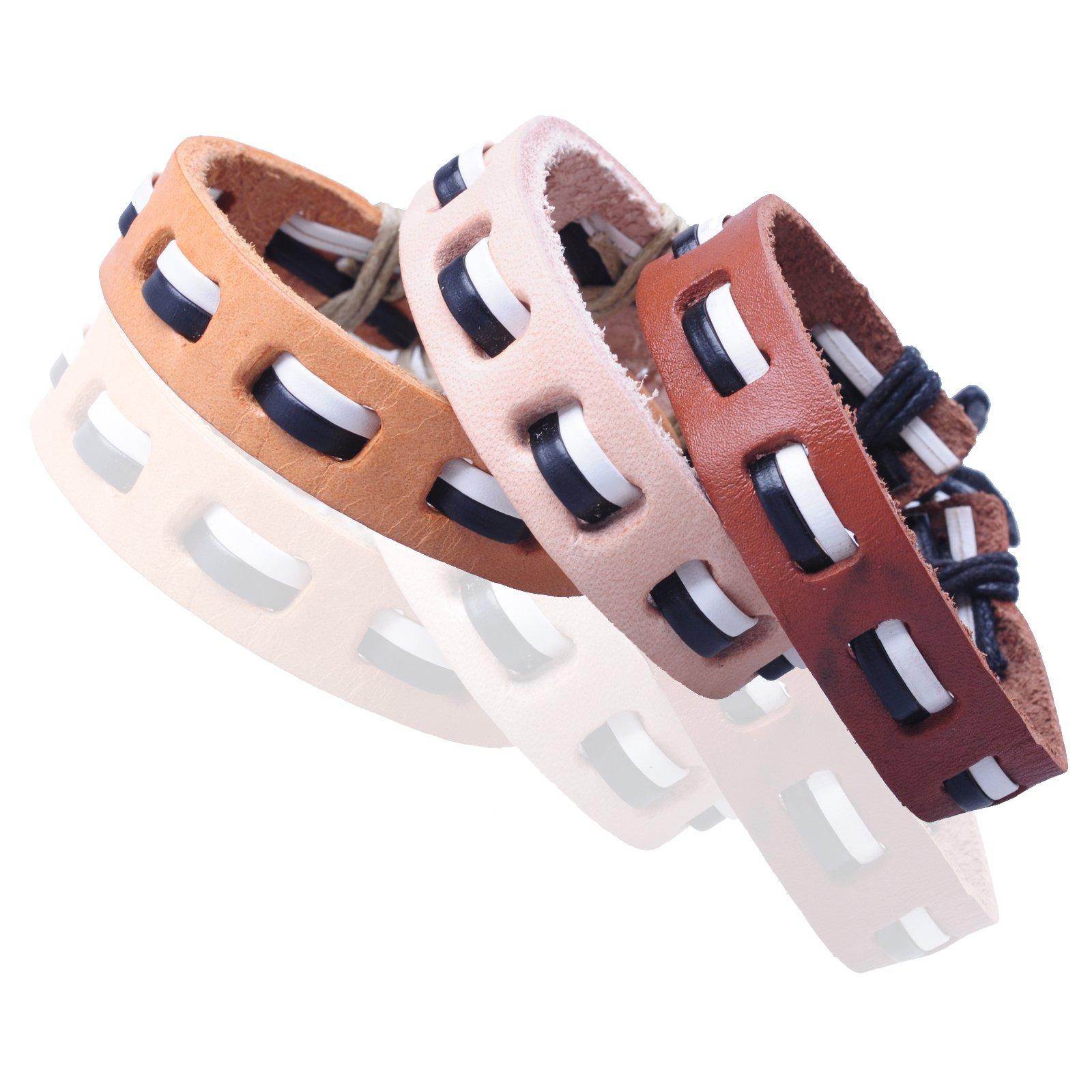New-Fawn-Orange-Brown-Unisex-Genuine-Leather-Adjustable-Bracelets-Gift-086USANNA miniature 18