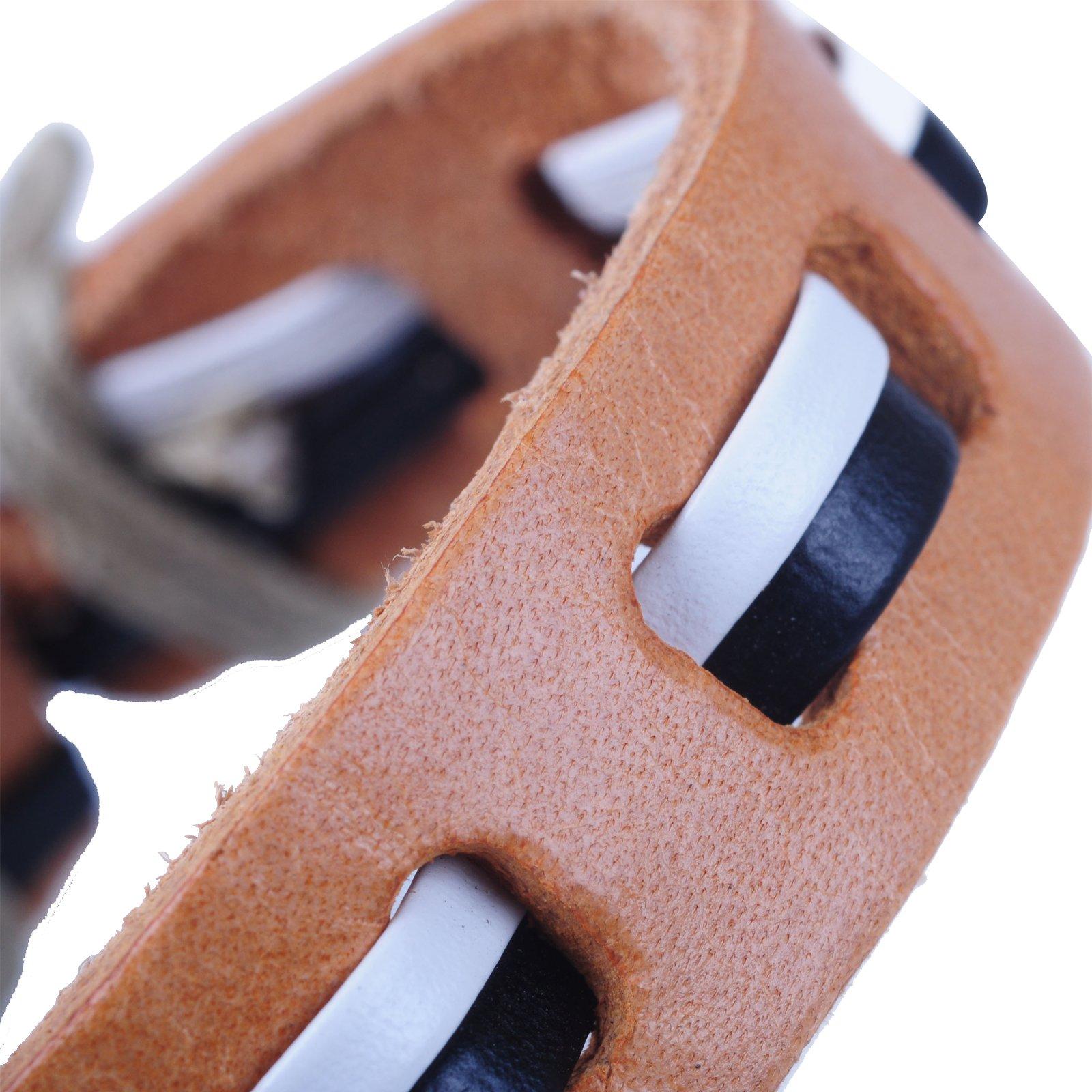 New-Fawn-Orange-Brown-Unisex-Genuine-Leather-Adjustable-Bracelets-Gift-086USANNA miniature 17