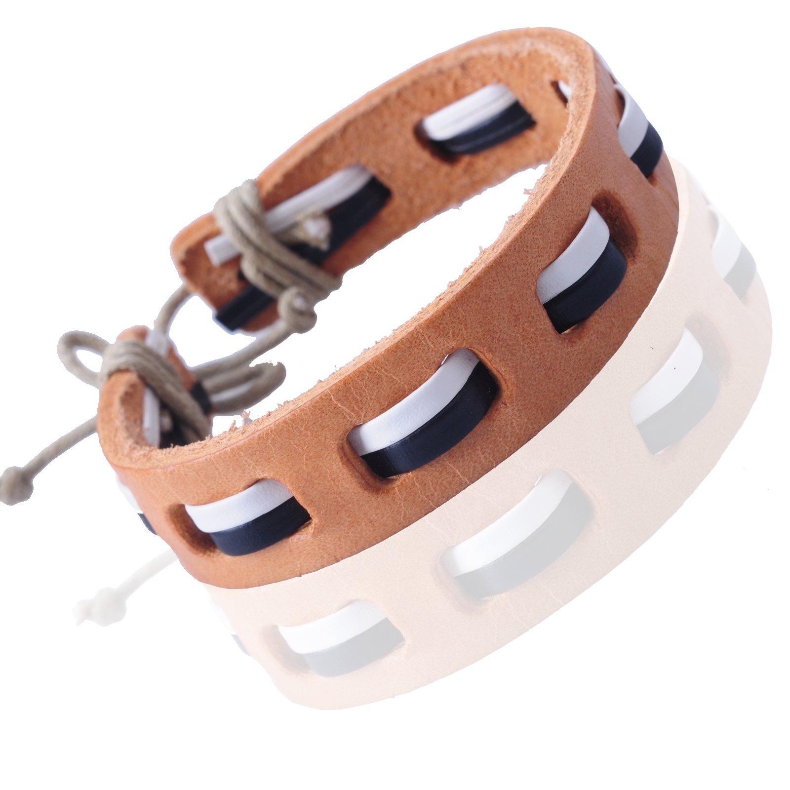 New-Fawn-Orange-Brown-Unisex-Genuine-Leather-Adjustable-Bracelets-Gift-086USANNA miniature 16