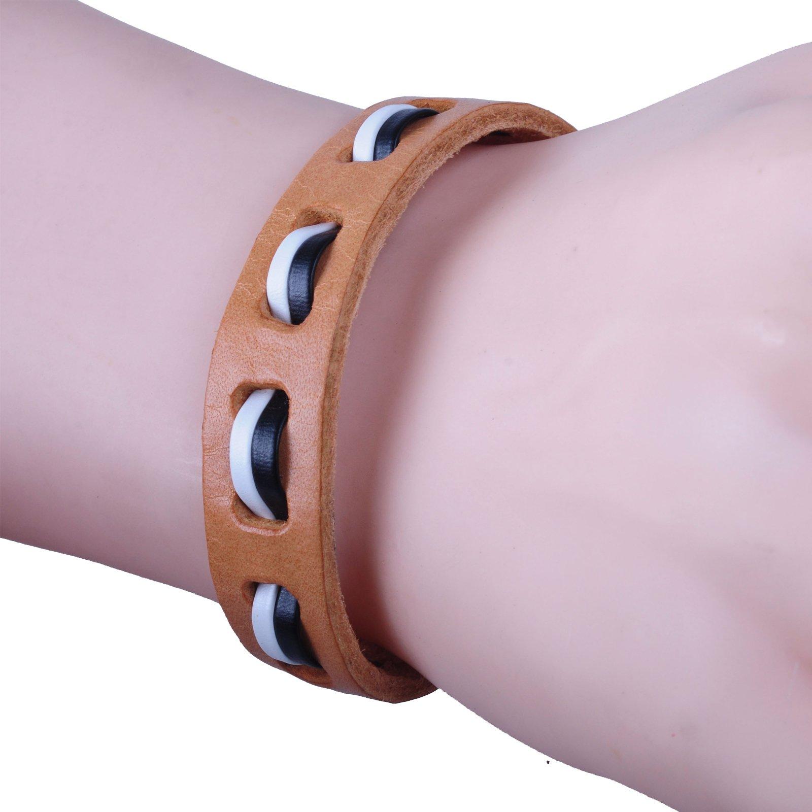New-Fawn-Orange-Brown-Unisex-Genuine-Leather-Adjustable-Bracelets-Gift-086USANNA miniature 14
