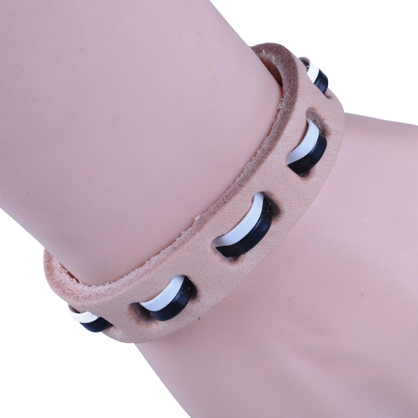 New-Fawn-Orange-Brown-Unisex-Genuine-Leather-Adjustable-Bracelets-Gift-086USANNA miniature 10
