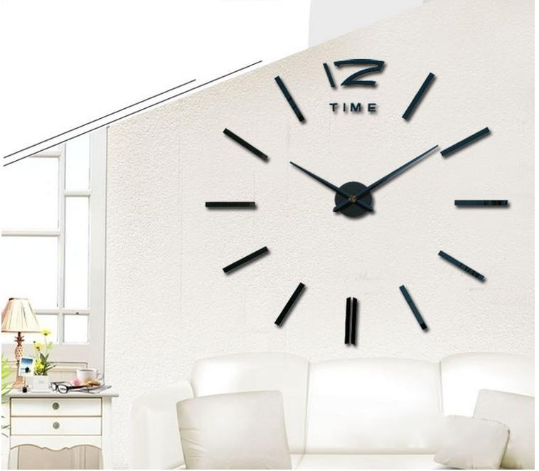 Luxury Wall Clock Living Room DIY 3D Home Decoration Mirror Large Art Design