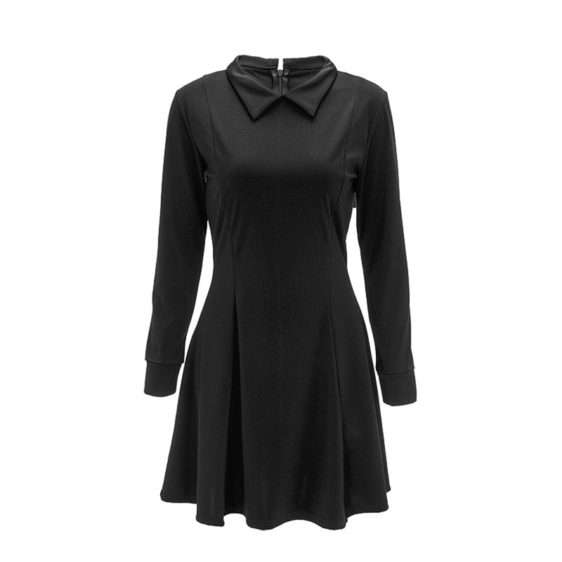 Negro-S-Vestido-corto-Manga-larga-Mujer-Slim-Forma-A-Party-dress-Falda-Fiesta