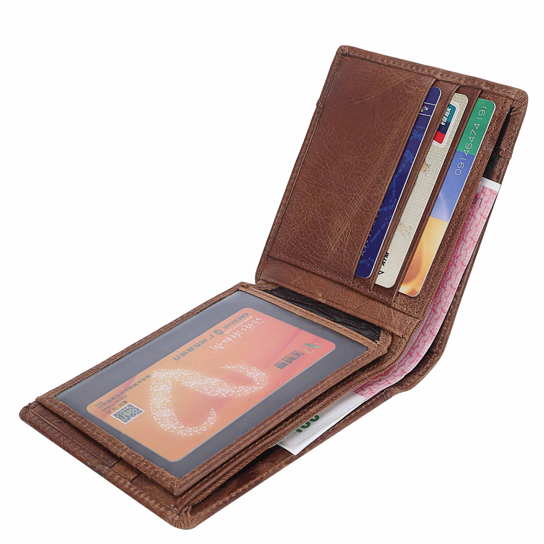 Uomo-Portafoglio-Porta-Carte-di-Credito-Vera-Pelle-Portamonete-Slim-Corto-Retro