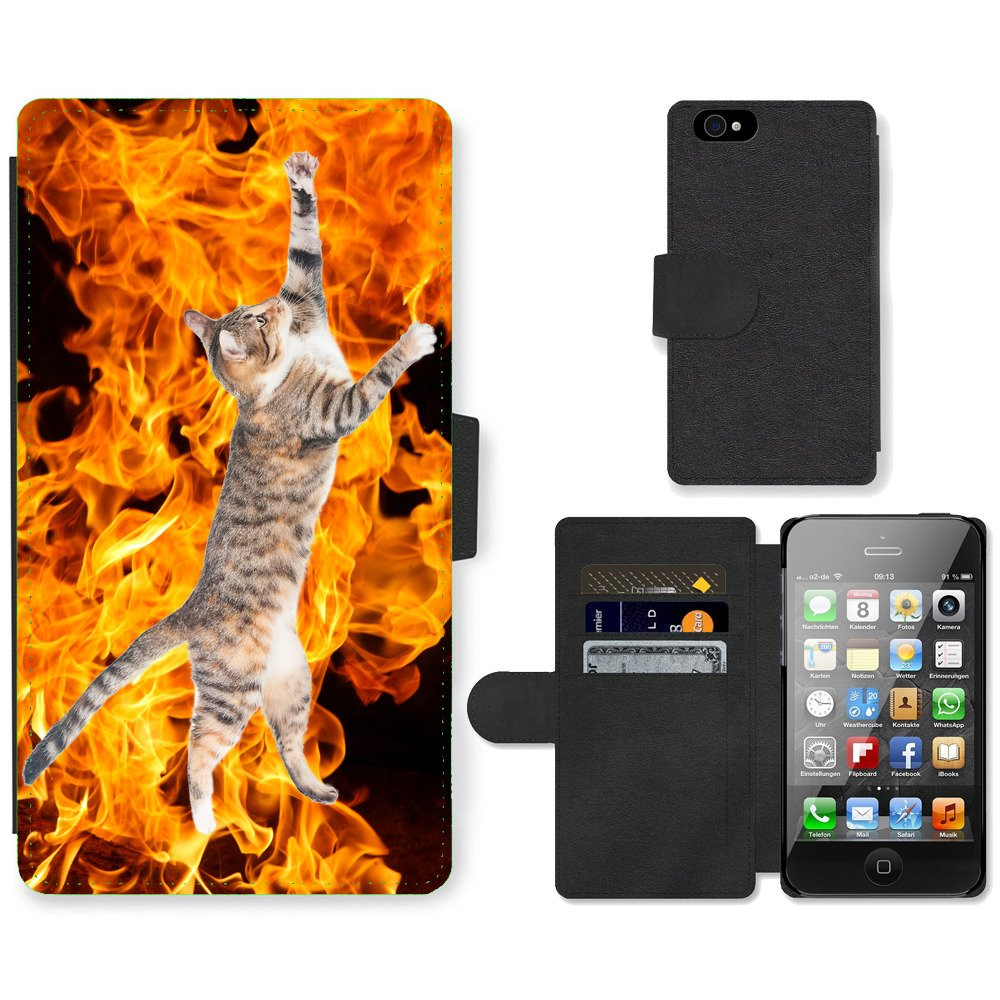 Phone-Card-Slot-PU-Leather-Wallet-Case-For-Apple-iPhone-flying-cat-wildfire