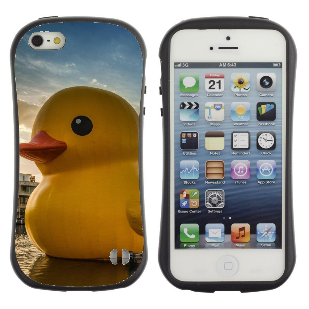 Anti-Shock-Tpu-Case-Bumper-Cover-For-Apple-iPhone-Giant-yellow-toy-duck-on-water
