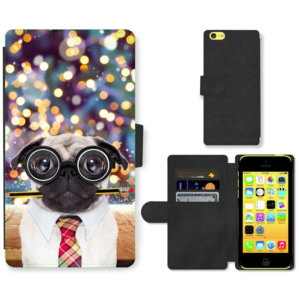 Phone-Card-Slot-PU-Leather-Wallet-Case-For-Apple-iPhone-dumb-pug-dog-color-fall