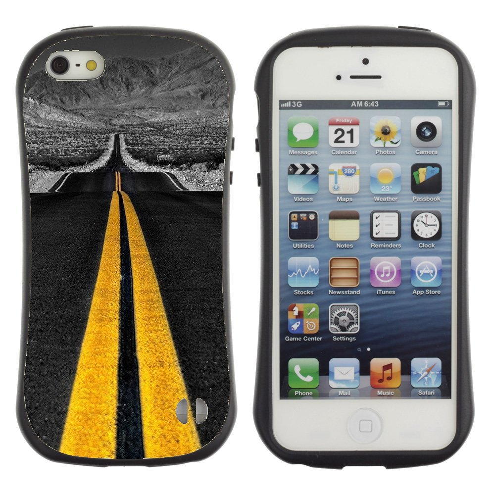 Anti-Shock-Tpu-Case-Bumper-Cover-For-Apple-iPhone-Yellow-road-marks-on-gray-road