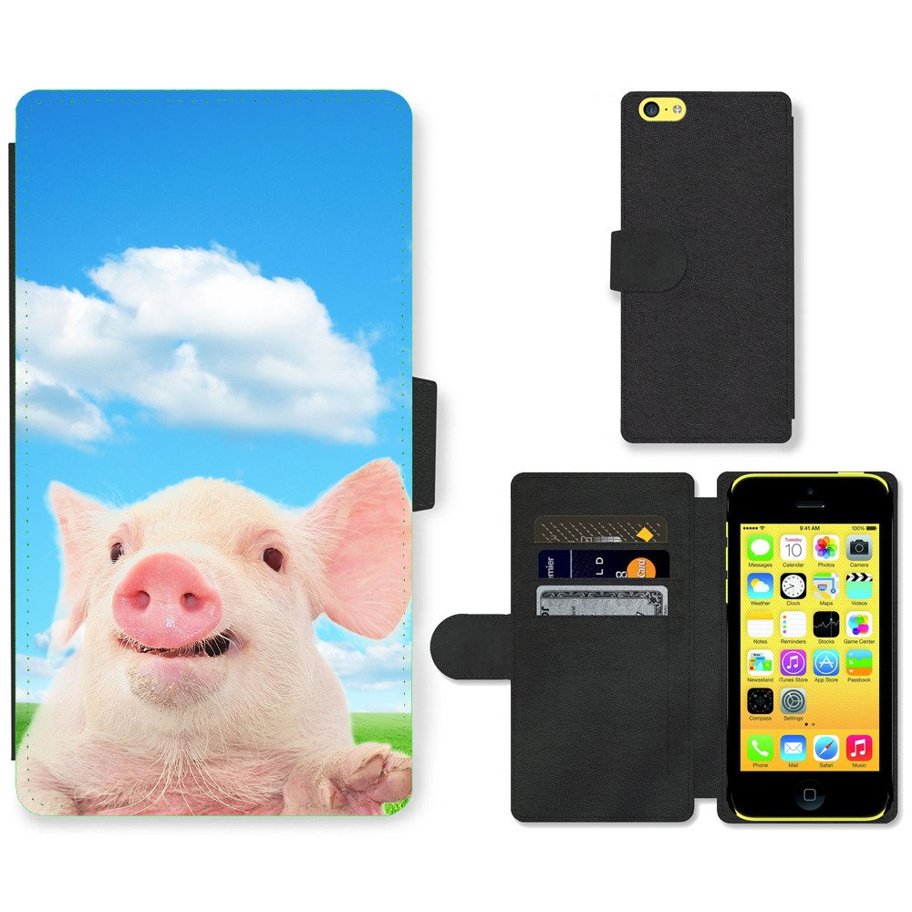 Phone-Card-Slot-PU-Leather-Wallet-Case-For-Apple-iPhone-cute-pig-cloudy-day