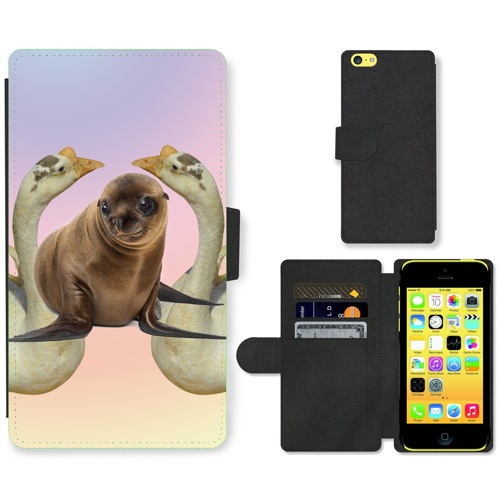 Phone-Card-Slot-PU-Leather-Wallet-Case-For-Apple-iPhone-cute-sea-lion-white-goos