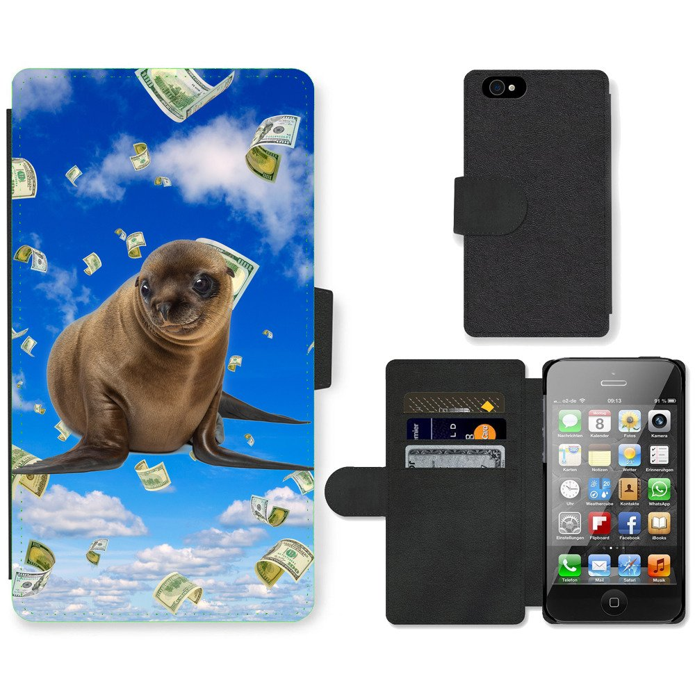 Phone-Card-Slot-PU-Leather-Wallet-Case-For-Apple-iPhone-cute-sea-lion-money-sky