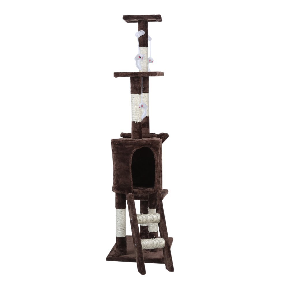 Cat-Tree-Scratching-Post-Activity-Centre-Grey-Fun-Play-House-143cm-4-colour thumbnail 42