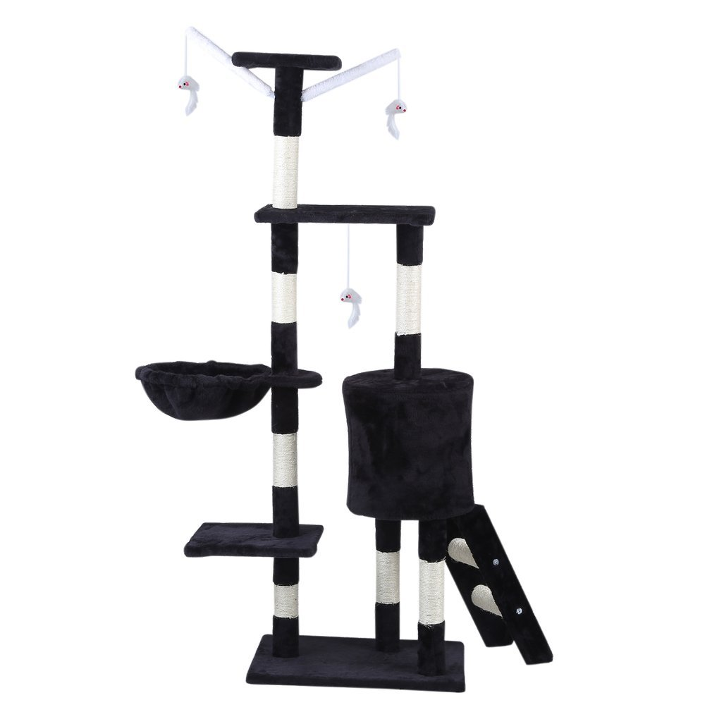 Cat-Tree-Scratching-Post-Activity-Centre-Grey-Fun-Play-House-143cm-4-colour thumbnail 19