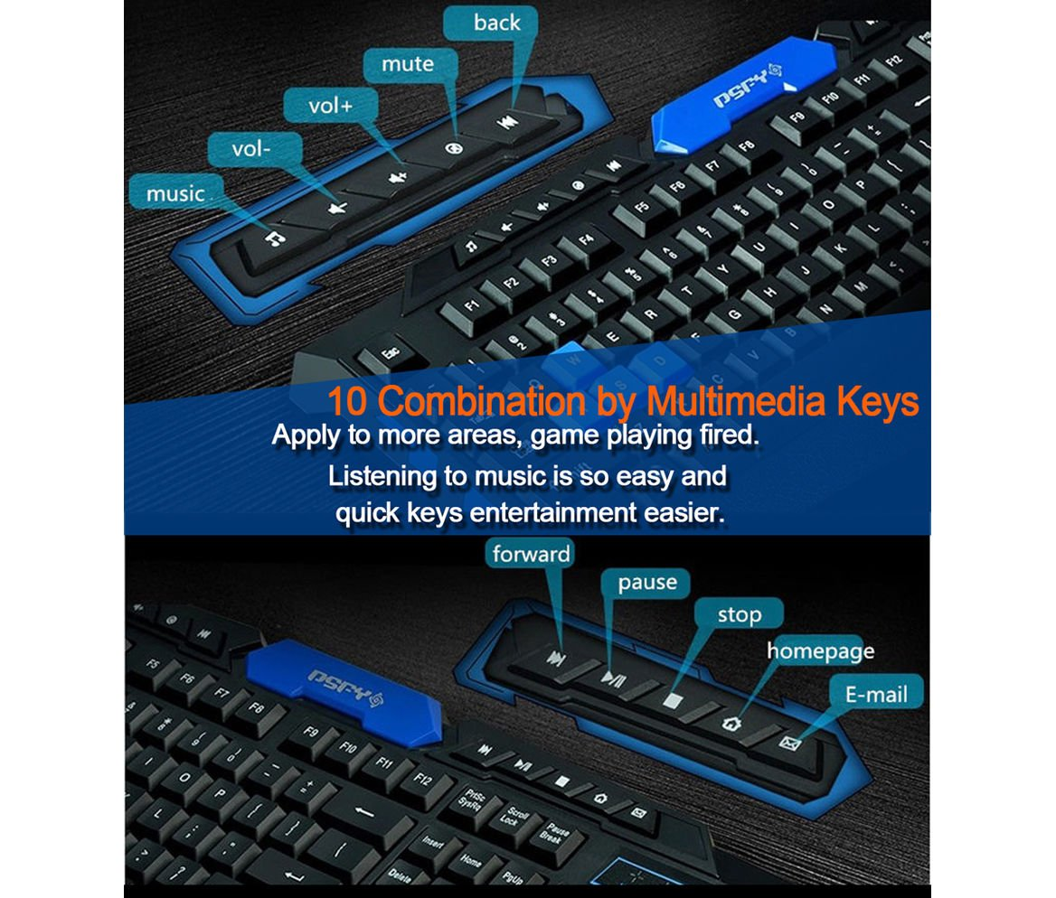 LOT Gaming Wireless 2.4G Keyboard and Mouse for Computer PC Multimedia Gamer TO 5