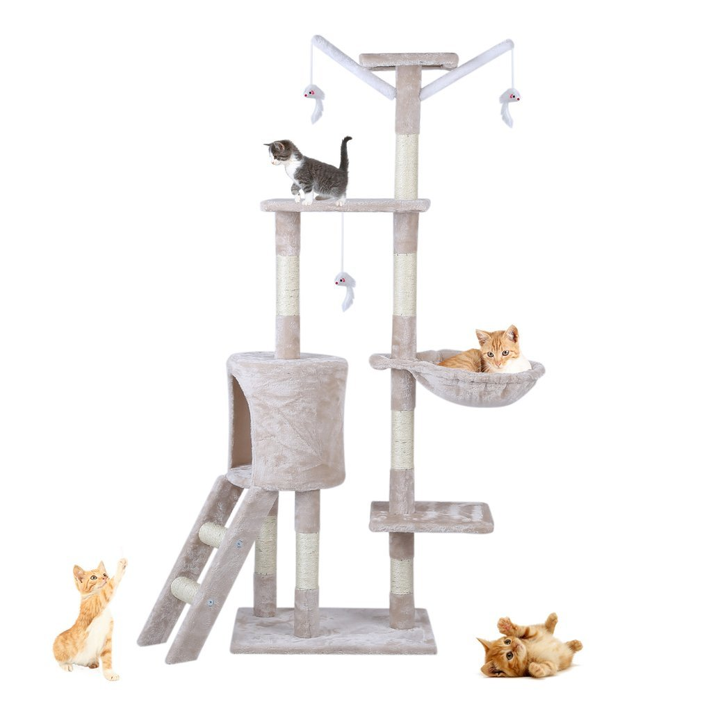 Cat-Tree-Scratching-Post-Activity-Centre-Grey-Fun-Play-House-143cm-4-colour thumbnail 27