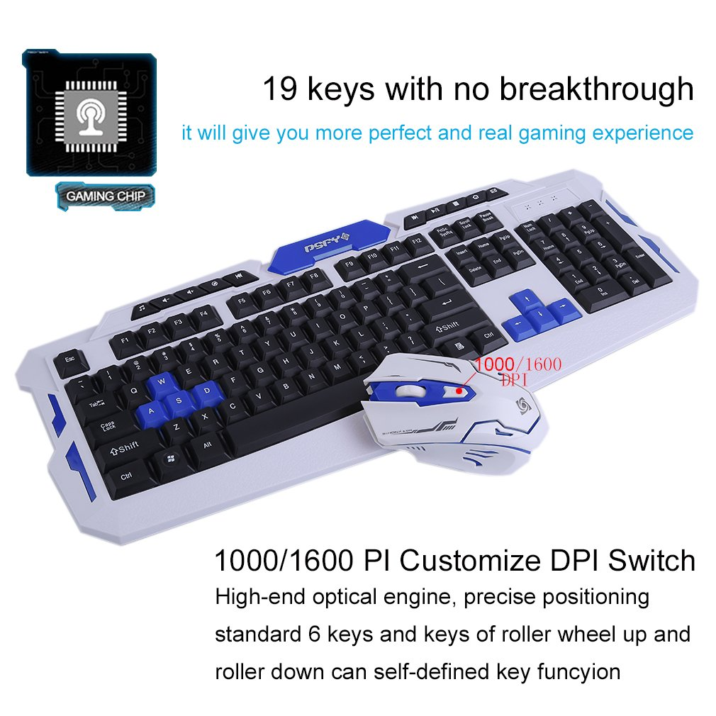 LOT Gaming Wireless 2.4G Keyboard and Mouse for Computer PC Multimedia Gamer TO 27