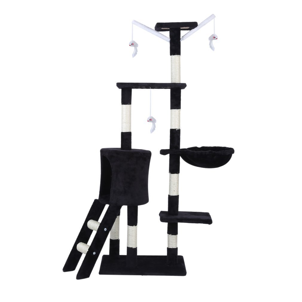 Cat-Tree-Scratching-Post-Activity-Centre-Grey-Fun-Play-House-143cm-4-colour thumbnail 18