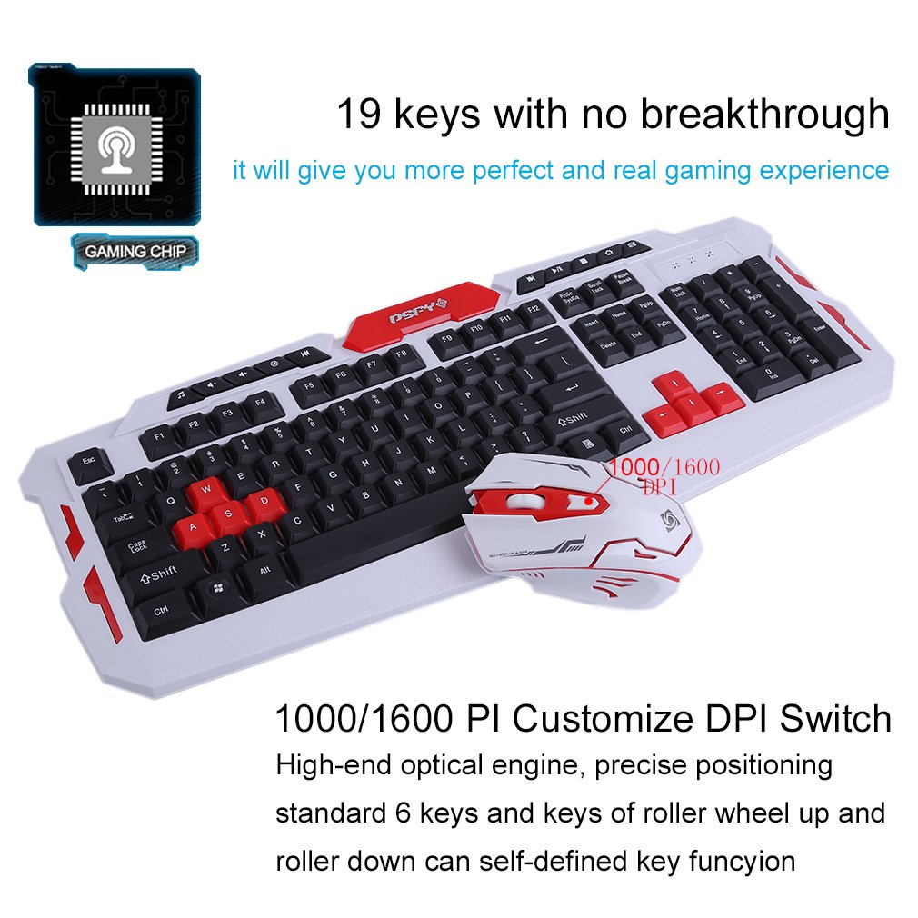 LOT Gaming Wireless 2.4G Keyboard and Mouse for Computer PC Multimedia Gamer TO 33