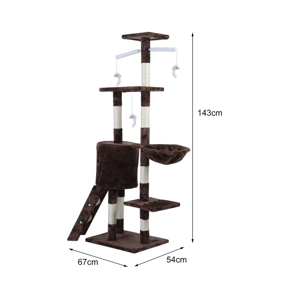 Cat-Tree-Scratching-Post-Activity-Centre-Grey-Fun-Play-House-143cm-4-colour thumbnail 44