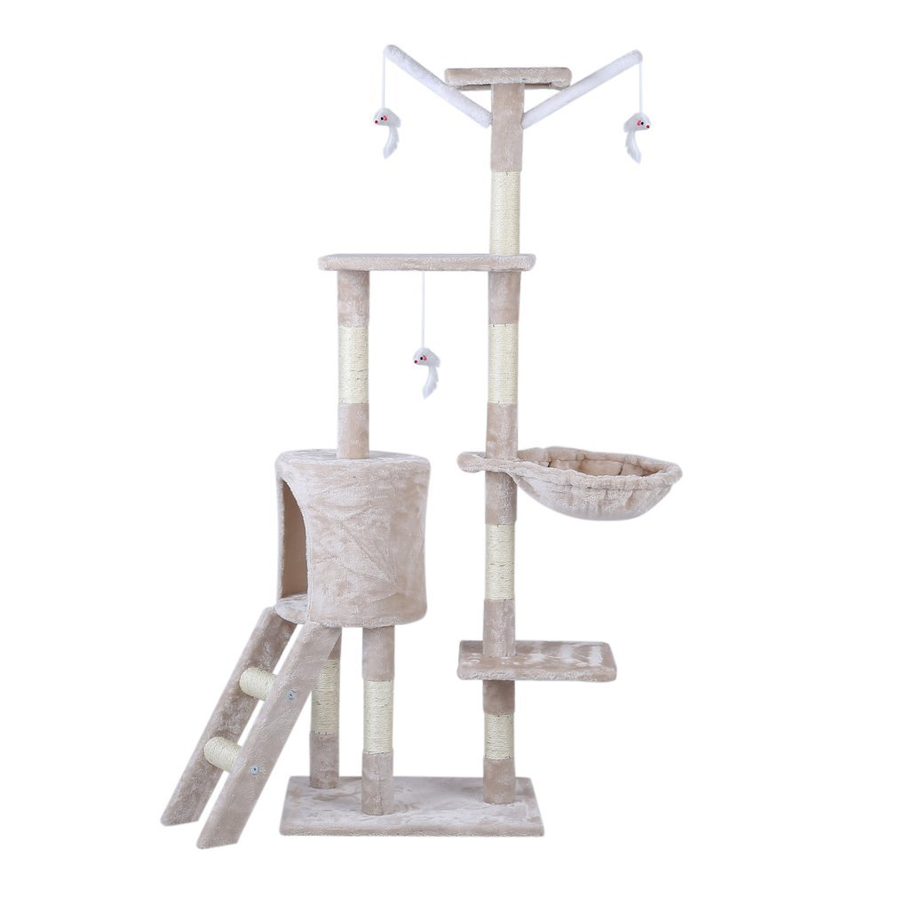 Cat-Tree-Scratching-Post-Activity-Centre-Grey-Fun-Play-House-143cm-4-colour thumbnail 28