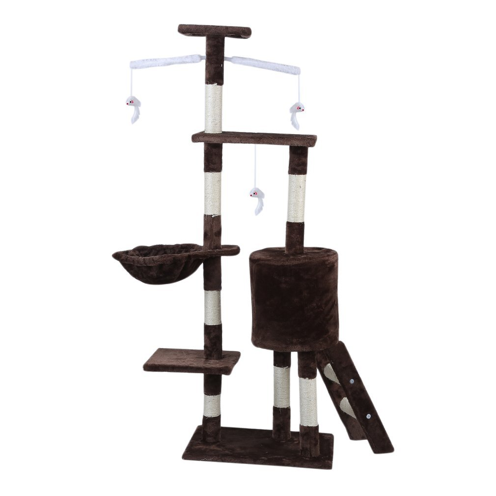 Cat-Tree-Scratching-Post-Activity-Centre-Grey-Fun-Play-House-143cm-4-colour thumbnail 43