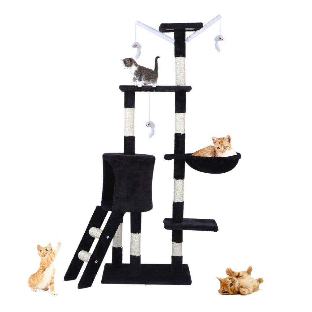 Cat-Tree-Scratching-Post-Activity-Centre-Grey-Fun-Play-House-143cm-4-colour thumbnail 17