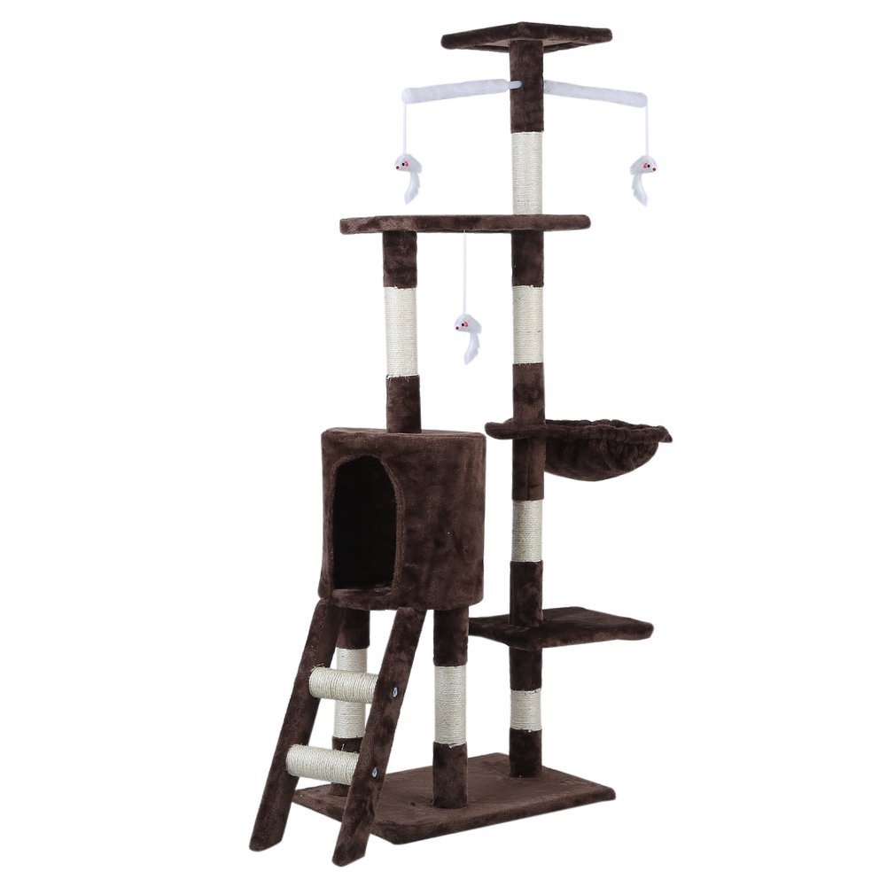 Cat-Tree-Scratching-Post-Activity-Centre-Grey-Fun-Play-House-143cm-4-colour thumbnail 41