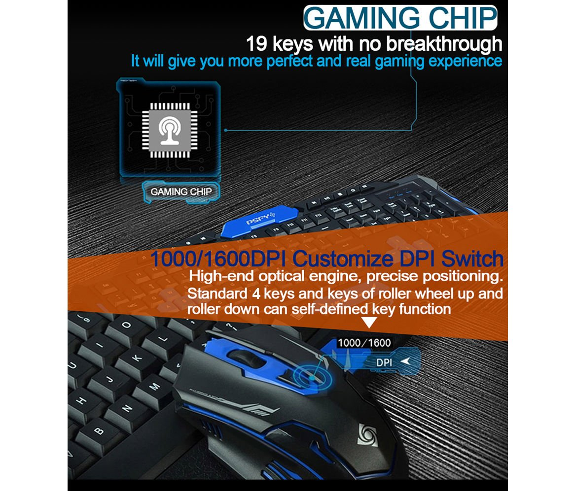 LOT Gaming Wireless 2.4G Keyboard and Mouse for Computer PC Multimedia Gamer TO 9