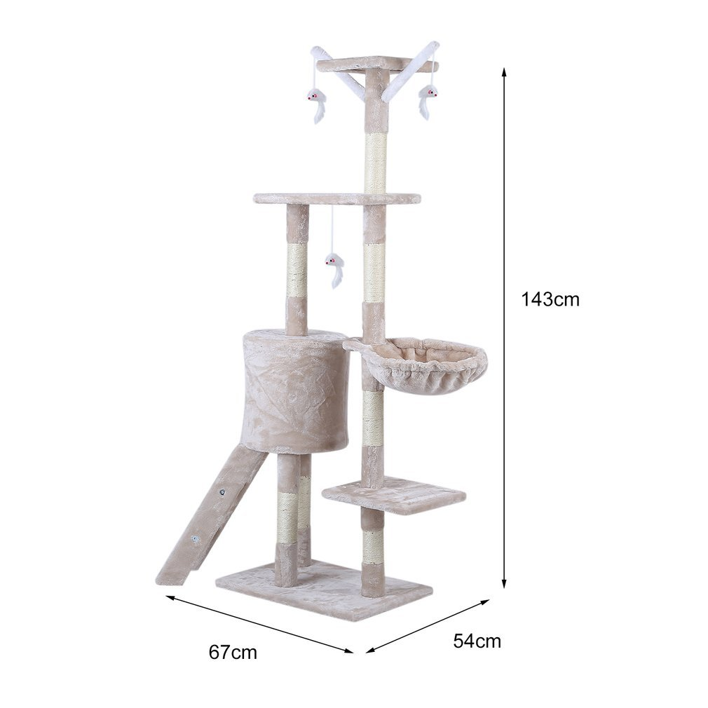 Cat-Tree-Scratching-Post-Activity-Centre-Grey-Fun-Play-House-143cm-4-colour thumbnail 32