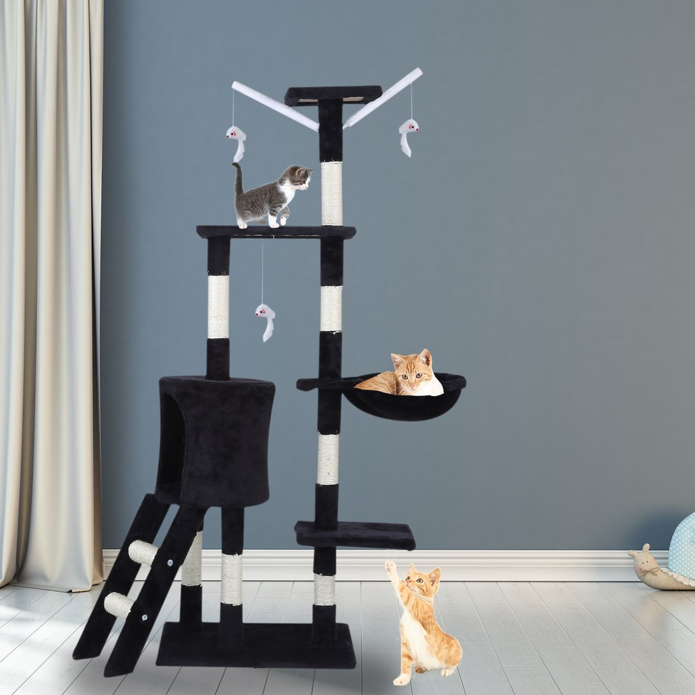Cat-Tree-Scratching-Post-Activity-Centre-Grey-Fun-Play-House-143cm-4-colour thumbnail 16