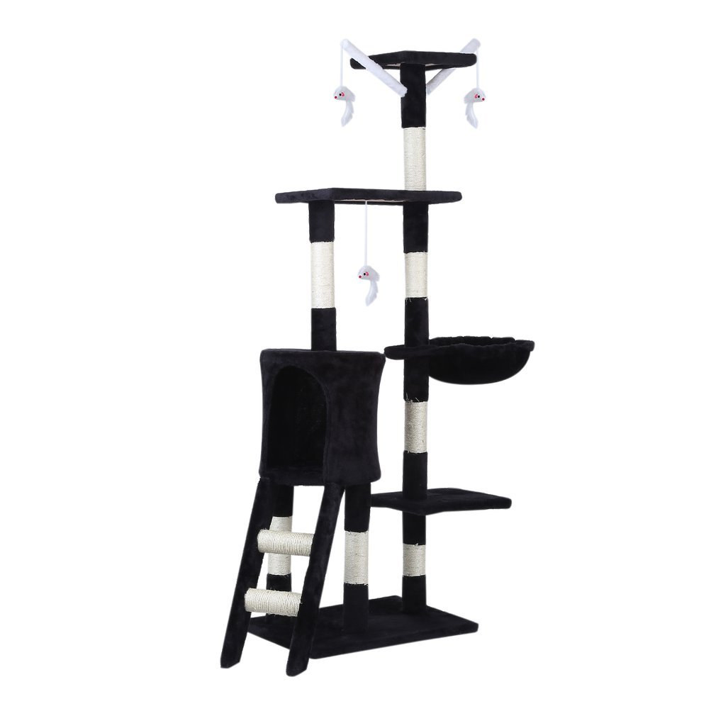 Cat-Tree-Scratching-Post-Activity-Centre-Grey-Fun-Play-House-143cm-4-colour thumbnail 20