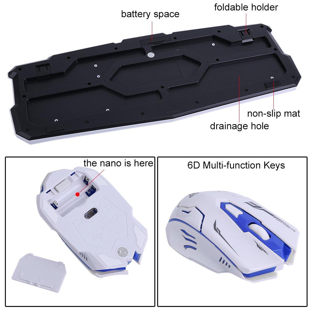 LOT Gaming Wireless 2.4G Keyboard and Mouse for Computer PC Multimedia Gamer TO 29