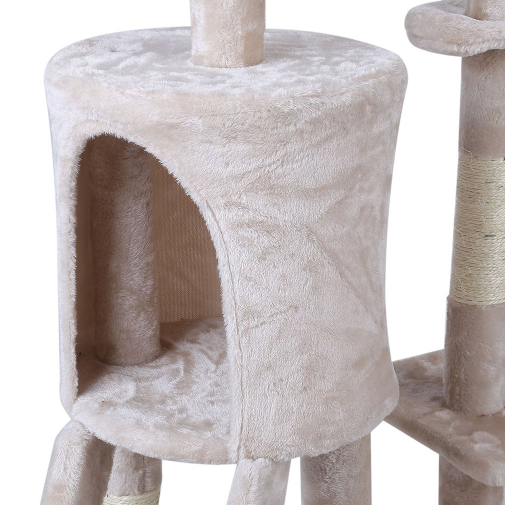 Cat-Tree-Scratching-Post-Activity-Centre-Grey-Fun-Play-House-143cm-4-colour thumbnail 33
