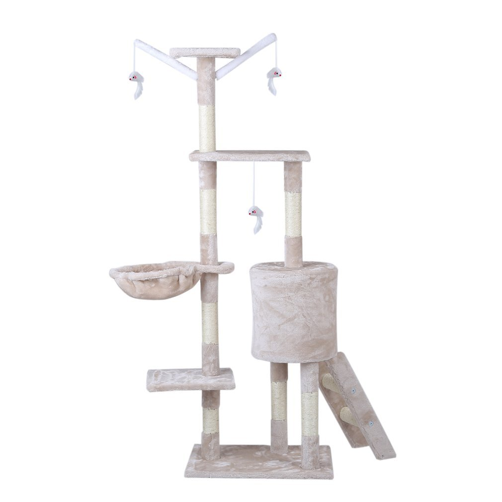 Cat-Tree-Scratching-Post-Activity-Centre-Grey-Fun-Play-House-143cm-4-colour thumbnail 30