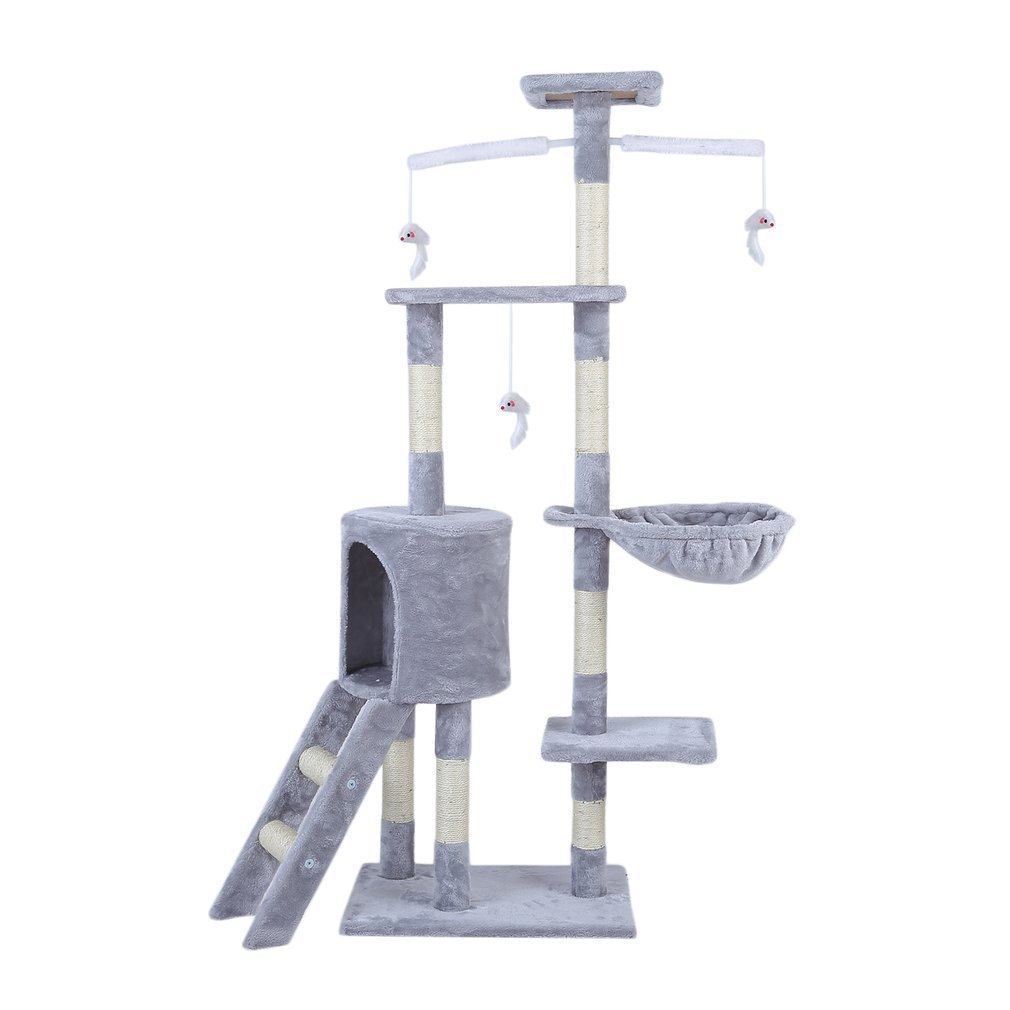 Cat-Tree-Scratching-Post-Activity-Centre-Grey-Fun-Play-House-143cm-4-colour thumbnail 6