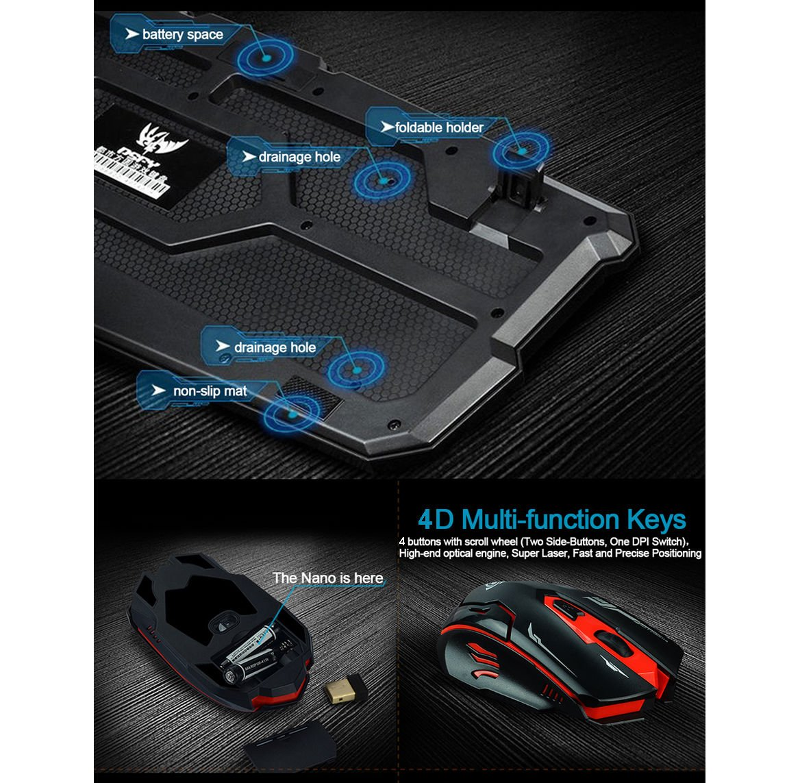 LOT Gaming Wireless 2.4G Keyboard and Mouse for Computer PC Multimedia Gamer TO 11