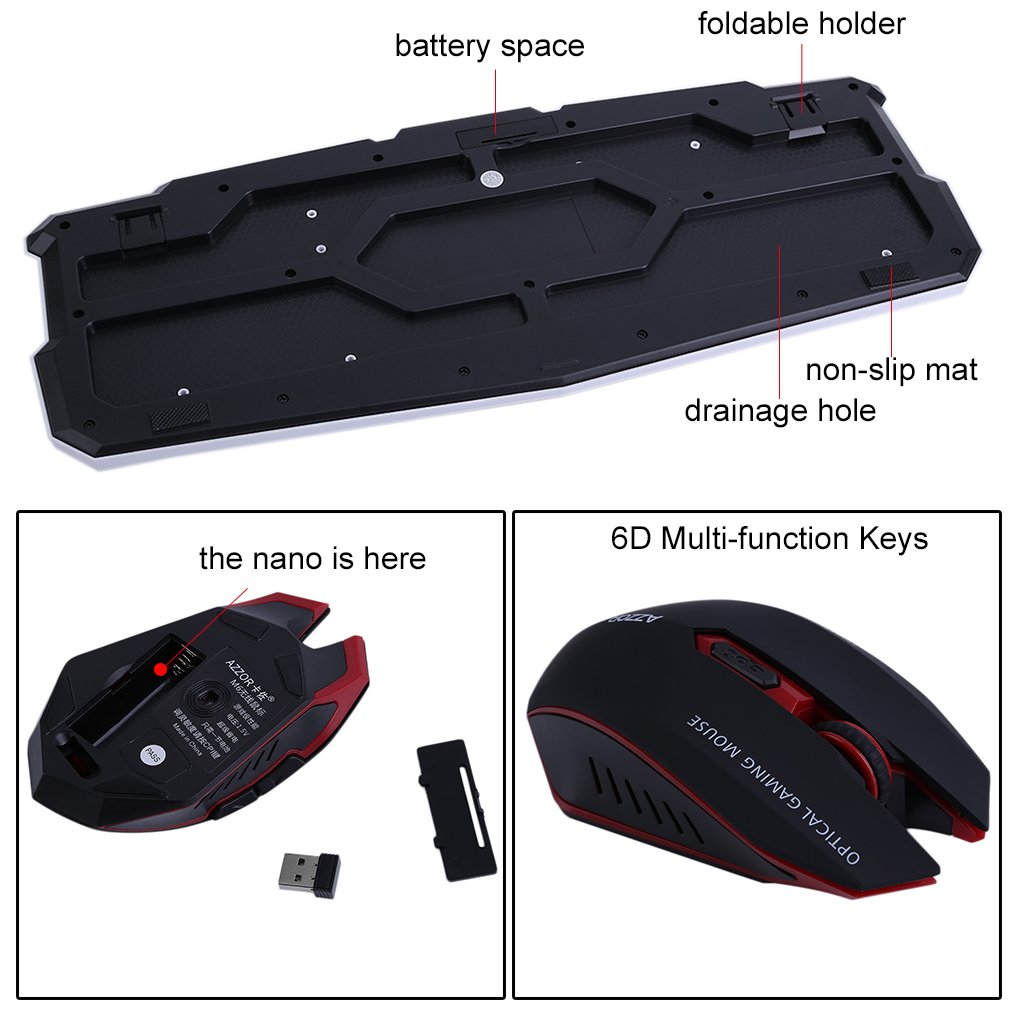 LOT Gaming Wireless 2.4G Keyboard and Mouse for Computer PC Multimedia Gamer TO 47