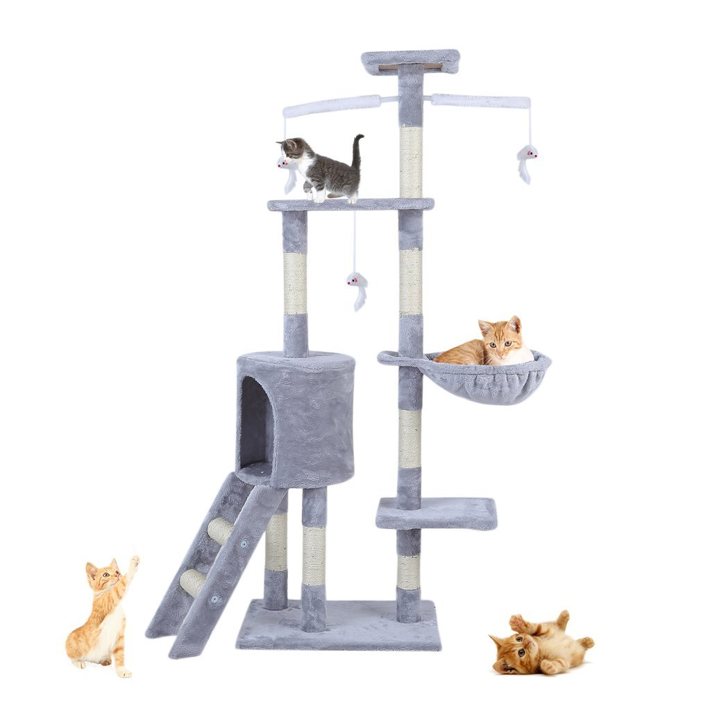 Cat-Tree-Scratching-Post-Activity-Centre-Grey-Fun-Play-House-143cm-4-colour thumbnail 5