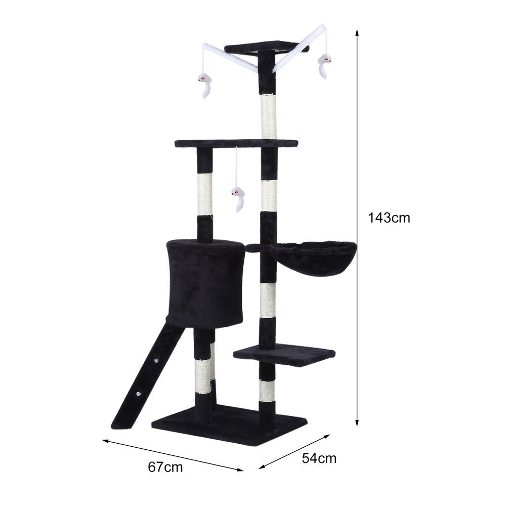 Cat-Tree-Scratching-Post-Activity-Centre-Grey-Fun-Play-House-143cm-4-colour thumbnail 22