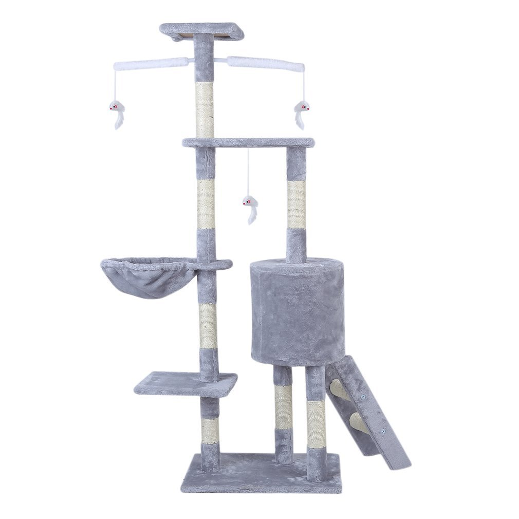 Cat-Tree-Scratching-Post-Activity-Centre-Grey-Fun-Play-House-143cm-4-colour thumbnail 8
