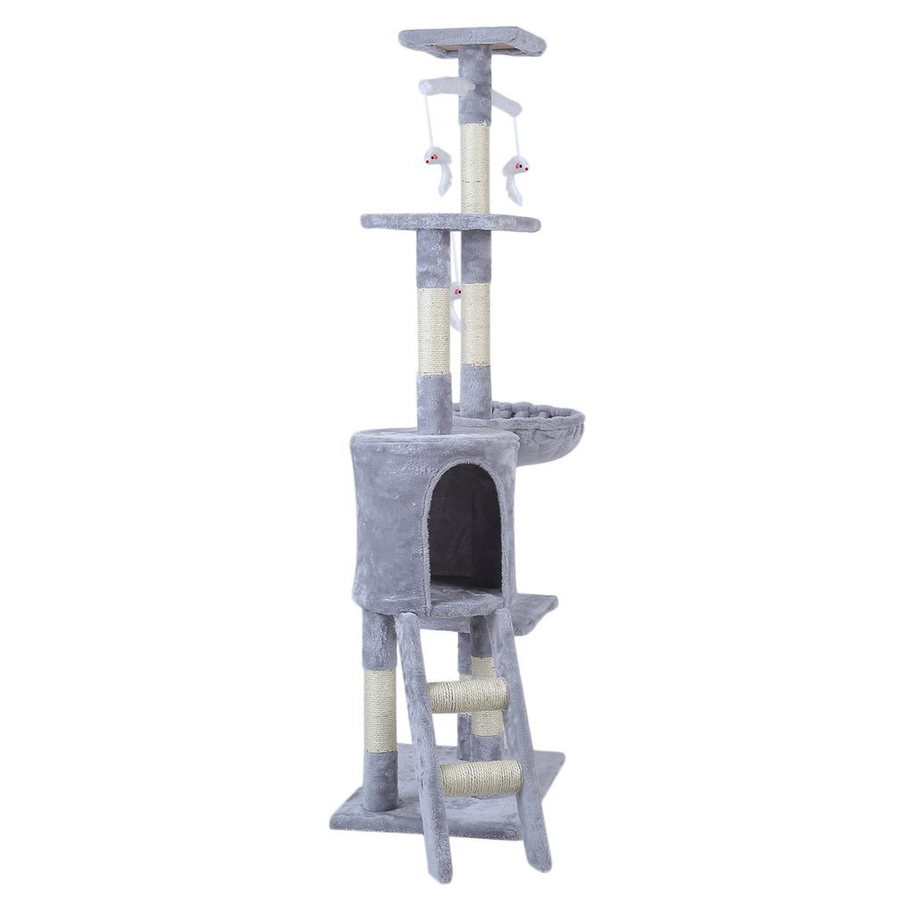 Cat-Tree-Scratching-Post-Activity-Centre-Grey-Fun-Play-House-143cm-4-colour thumbnail 9