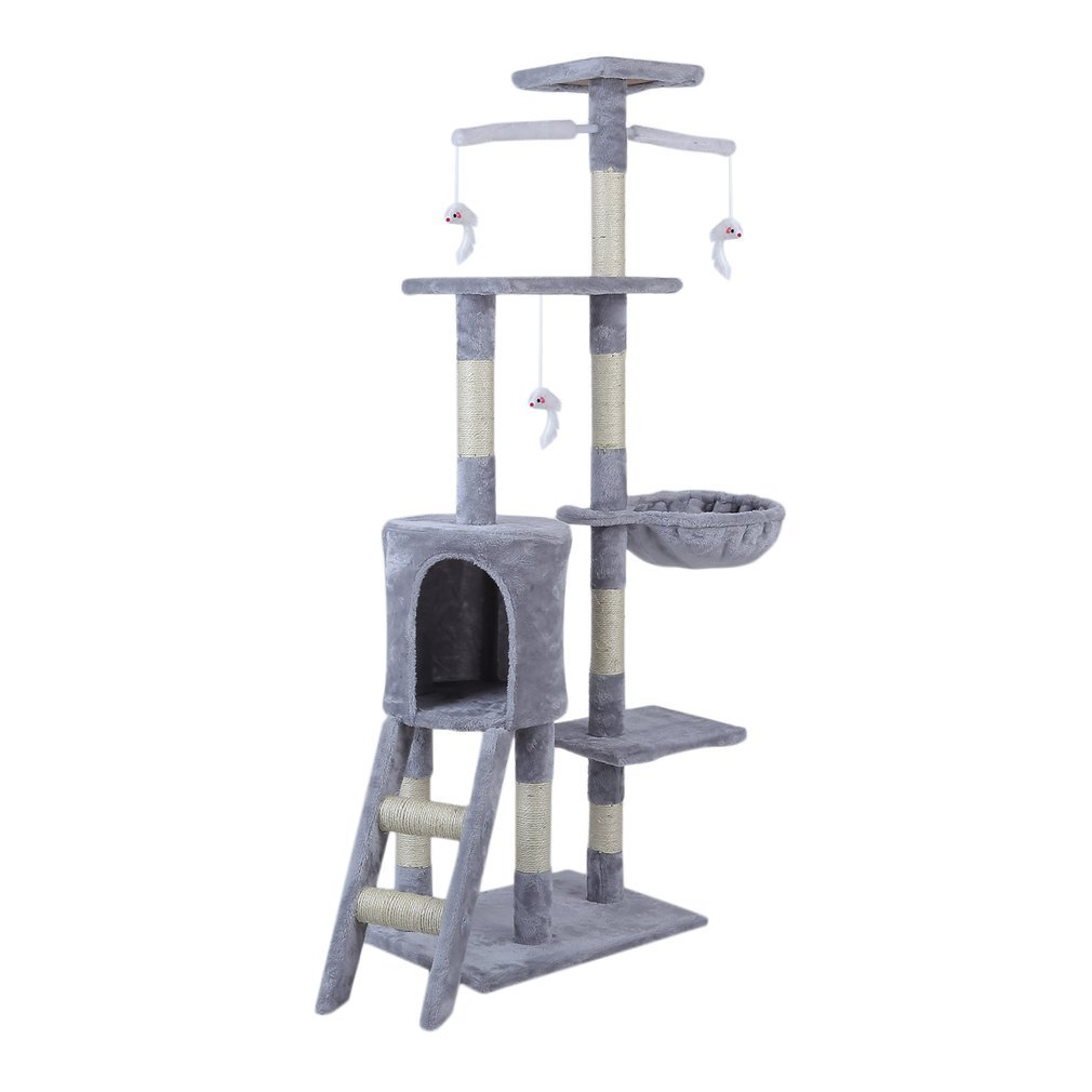 Cat-Tree-Scratching-Post-Activity-Centre-Grey-Fun-Play-House-143cm-4-colour thumbnail 7