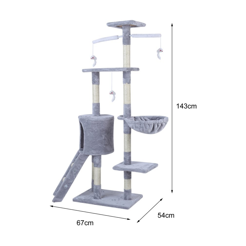 Cat-Tree-Scratching-Post-Activity-Centre-Grey-Fun-Play-House-143cm-4-colour thumbnail 10