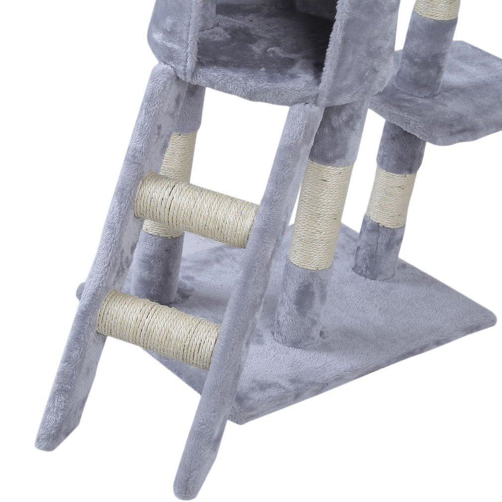 Cat-Tree-Scratching-Post-Activity-Centre-Grey-Fun-Play-House-143cm-4-colour thumbnail 11
