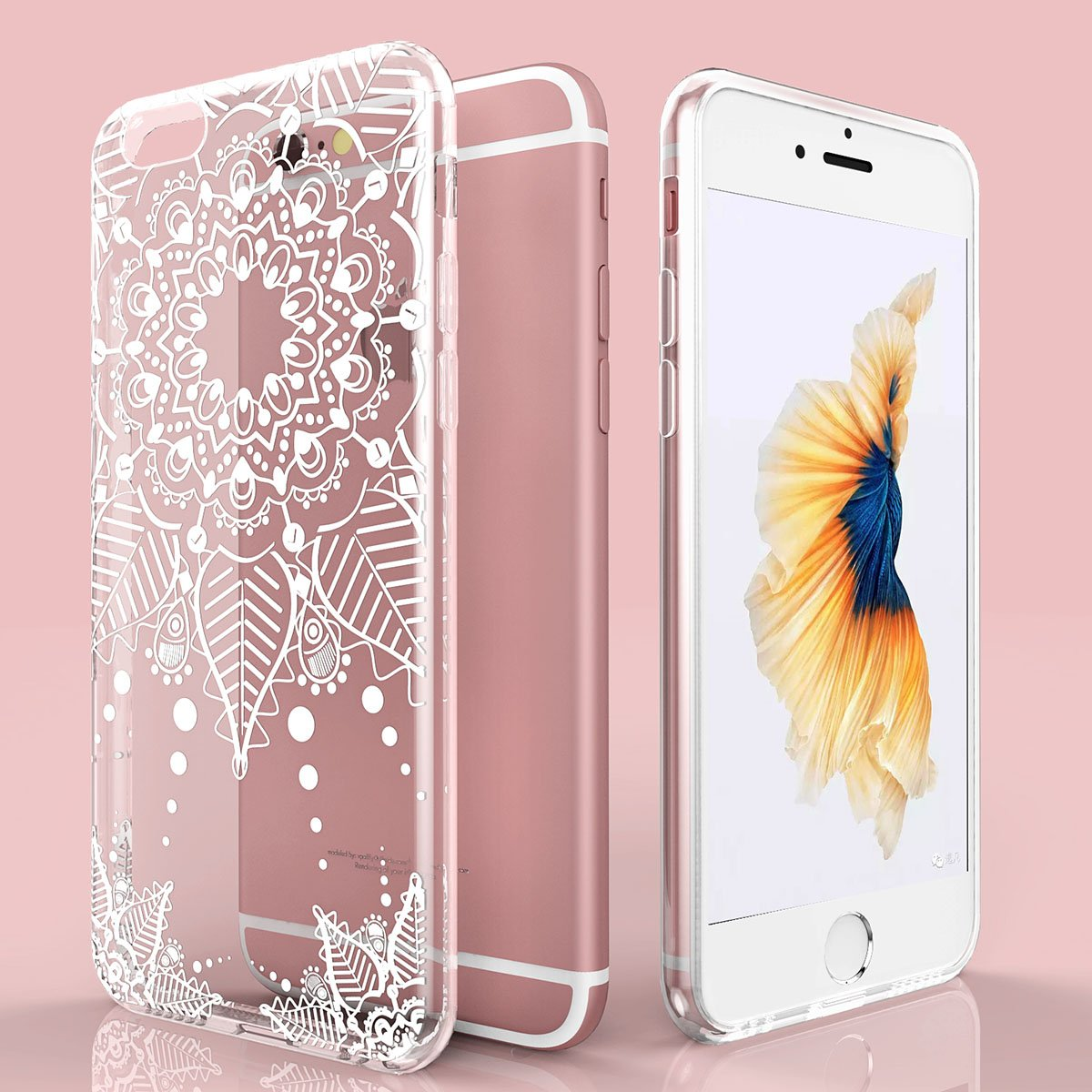 Beautiful Totem Henna Series White Floral Clear Soft Case Cover for iPhone Modes
