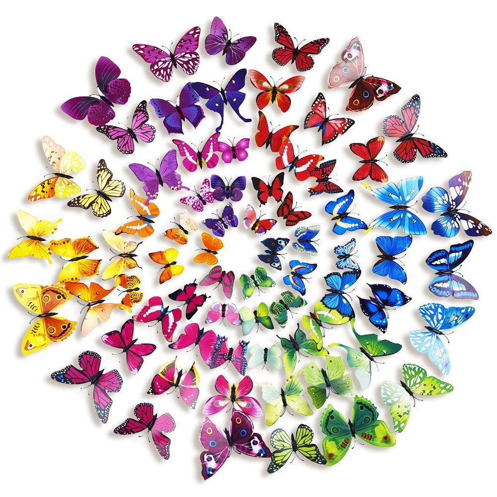 60pcs 5 Colours 3D Butterfly Magnet & Wall Stickers Fridge Home Room Party Decor 2